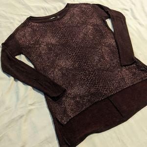 a.n.a. Metallic Print Sweater - Purple